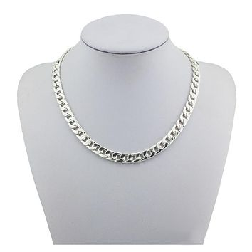 Fashion 925 Sterling Silver Jewelry Heavy Thick Link Chain Necklace Male Men's Party 5mm Wide 18 20 22 inch Key Chain Choker