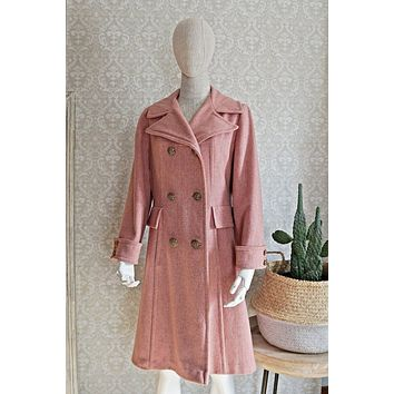 Vintage 1960s Darling + Dusty Pink Wool Coat