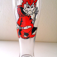 Devil Pilsner Hand Painted Graffiti Design Beer Glass Halloween