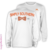 Simply Southern Est 2005 Orange Grey Bow Girlie Bright Long Sleeve T Shirt