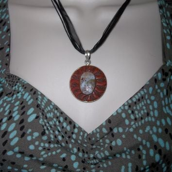 "Vintage Sun Red Jasper Cabochon Medallion Hand Crafted Pendant on 18"" Black Organza Cording"