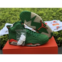 2018 Air jordan retro 6 Gatorade Green Suede Basketball Shoes sport outdoor Sneakers US 5.5-13