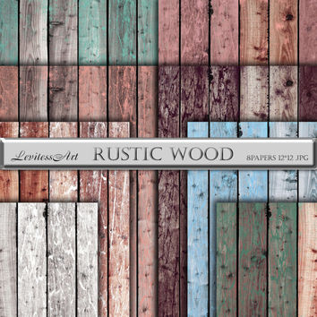 "Wood digital paper ""Rustic wood""with distressed rustic wood texture in brown, teal, blue, pink, white for scrapbooking, invites, web design."