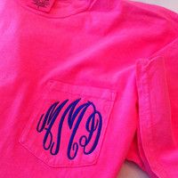 Monogrammed Monogram Comfort Colors Pocket Tshirt Tee T shirt