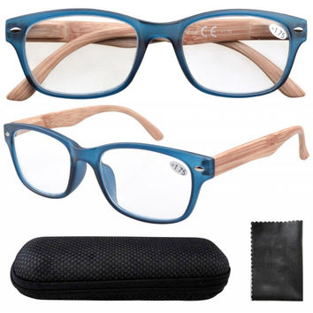 Spring Hinge Wood-Grain Printed Arms Blue Reading Glasses with Case 1.0/1.25/1.5/1.75/2/2.25/2.5/2.75/3/3.25/3.5/4