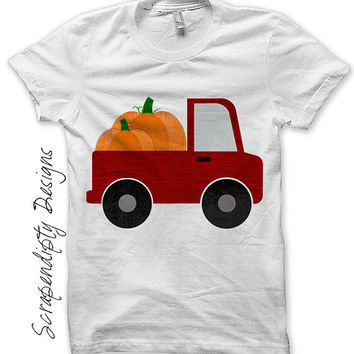 Fall Iron on Transfer - Iron on Pumpkin Shirt / Kids Pumpkin Truck Outfit / Newborn Pumpkin Outfit / Toddler Boys Fall Shirt IT476-C
