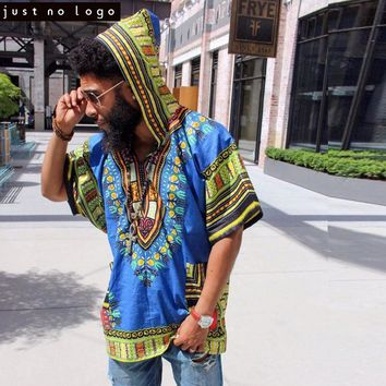 Men African Dashiki Hoodies T-shirt Hiphop Kenya Kaftan Festive
