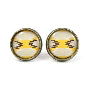 Tribal Stud Earrings - Tribal Jewelry - Yellow Brown Tribal Earrings - Native American - Southwestern Jewelry