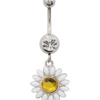14G Steel Daisy Curved Navel Barbell