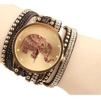 Shensee New Simple Velvet Diamond Bracelet Watch Ladies Watches High Elephant Pattern Black