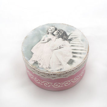 Angel Kisses Wooden Box Vintage look decoupage ,Box for jewelry ,Shabby Chic, Hand Painted, grey,silver,pink , wedding gift,Wedding box