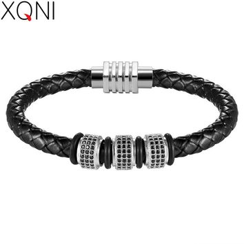 Gold/Silver/Black/Rose gold Color With Cubic Zircon Men Bracelet Magnetic Claps Stainless Steel