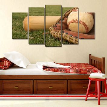 Baseball and Glove America's favorite Past Time Five Piece Canvas
