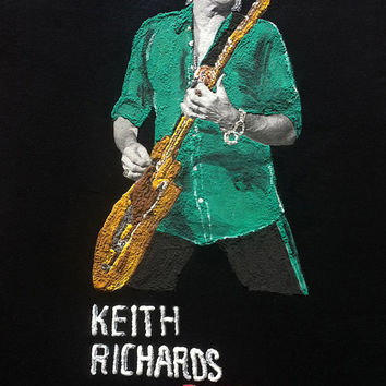 Keith Richards  tshirt Tシャツ shirt  rock painting 3d Rolling Stones Rome 2014 customizable