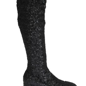 Black Sequined Leather Stretch Boots