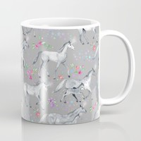 Unicorns and Stars on Soft Grey Mug by micklyn