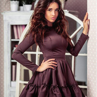 Long Sleeve Ruffle Trim Swing Dress