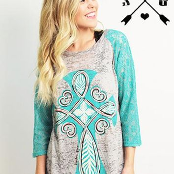 Annabelle Cross On Grey Burnout With Turquoise Lace Sleeves
