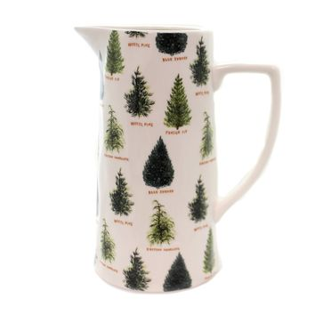 Tabletop TREE STONEWARE PITCHER Ceramic Spruce Fir Pine Hemlock Xm2336