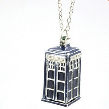 Blue TARDIS  Doctor Who Necklace