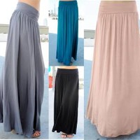 Trendy Bohemian long knit maxi skirt comfy stretch banded waistline A-line Shape