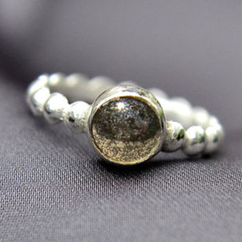 Sale - 20% off - Pyrite Ring, Sterling Silver Stacking Ring with Pyrite Cabochon, Fool's Gold Ring