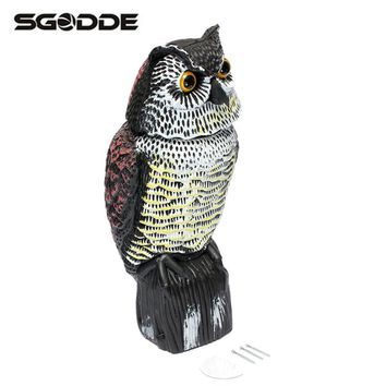 Plastic Large Fake Owl Hunting Decoys Rotating Head Garden Yard Ornament Bird Crow Scarer Caller Deterrent Repeller Pest Control