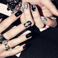 Rock Style Fake Nail Set   The Cross  by bclovenails on Etsy