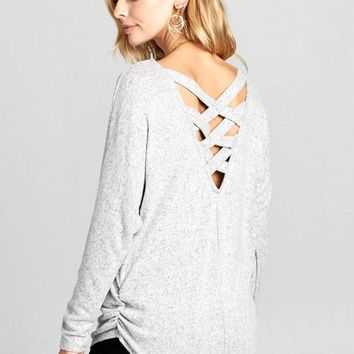 Criss Cross Back Top - Heather Gray