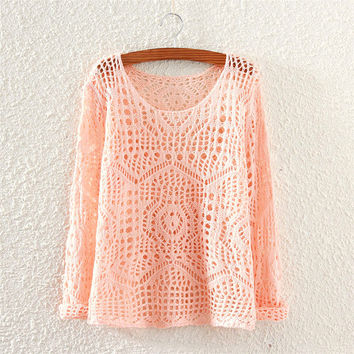 Women's Hollow Pink Solid Comfortable Knit Sweater