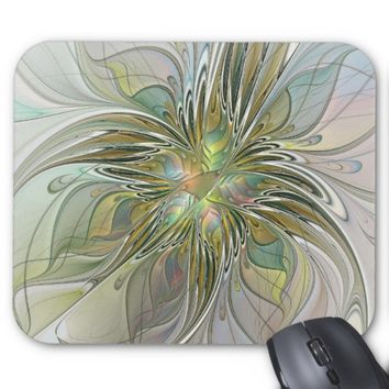 Floral Fantasy Modern Fractal Art Flower With Gold Mouse Pad