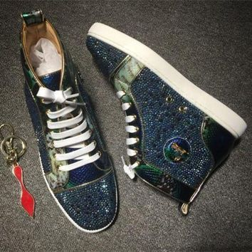 DCCK Cl Christian Louboutin Rhinestone Style #1956 Sneakers Fashion Shoes