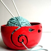 Red Ceramic Wheel Thrown Yarn Bowl - MADE TO ORDER
