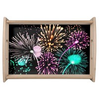 Bright firework texture serving tray