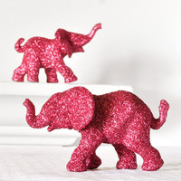 Hot Pink Elephants Jungle Safari in Magenta Glitter for Baby Shower Decorations, Wedding Table Settings, or Fuchsia Girly Girl Nursery Decor