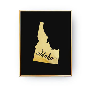 Idaho State Print, Real Gold Foil Print, USA State Poster, Idaho State Map, Idaho Print, Gold USA State, Idaho Silhouette, Black Background