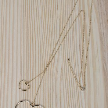 Pendulum Hearts Long Necklace