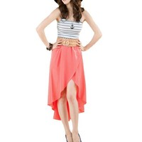 Allegra K Women High Low Elastic Waist New Style Fashion Chiffon Skirt XS