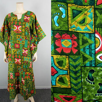 Tropical Bare Feet Vintage Hawaiian Caftan Maxi Dress Kimono Angel Sleeve Tiki Party Batik Wedding Floral Boho Hippie Luau