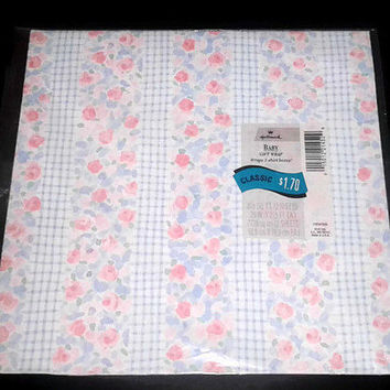 VTG 2 Classic Floral Gift Hallmark Wrapping Paper Baby Gift Wrap Pastel Colors Paper Sheet Birthday Wrap Baby Shower Wrapping Paper Floral