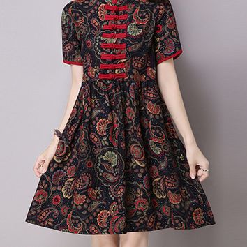 Streetstyle  Casual Band Collar Contrast Trim Printed Shift Dress