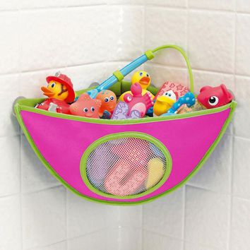 DCCKL72 Bath Toys Organizer Storage Bin Baby Bathroom Bag Baby Kids Bath Tub Waterproof Toy Hanging Storage Bag Rose Color