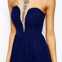 Little Mistress Skater Dress with Plunged Neck and Embellished Necklac