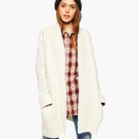 White Long Sleeve Knitted Cardigan with Pocket