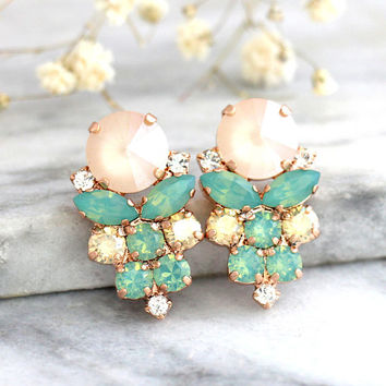 Mint Ivory Earrings, Mint Earrings, Bridal Mint Beige Earrings, Gift For Her, Bridesmaids Earrings, Mint Gold Earrings, Mint Stud Earrings