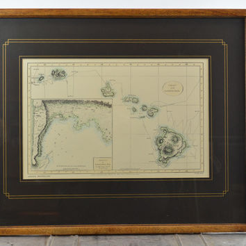 Hand Colored 1786 Vintage Chart of the Sandwich Isles Matted & Framed High-Quality