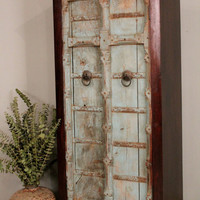 SALE Repurposed Antique Indian Distressed Tall Blue Door Storage Cabinet