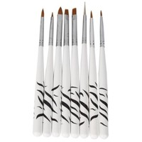 8 Pcs Nail Art Design Detailing Drawing Paint Painting Brushes Dotting Pen Set Kit White:Amazon:Beauty
