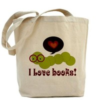 I Love Books Bookworm Tote Bag on CafePress.com