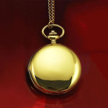 Classical 45*45mm  Polish Quartz Men Pocket Watch Necklace Relogio De Bolso Gift Quartz Watch LXH